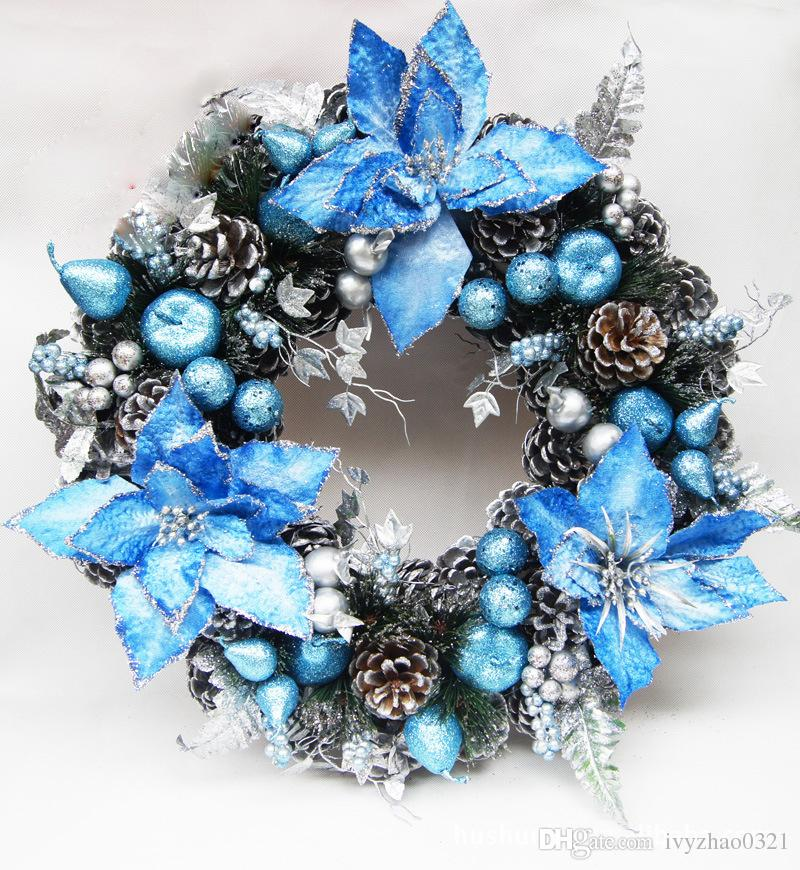 30cm Blue Christmas Wreath Garland High Grade Pinecone