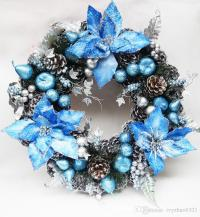 30cm Blue Christmas Wreath Garland High Grade Pinecone