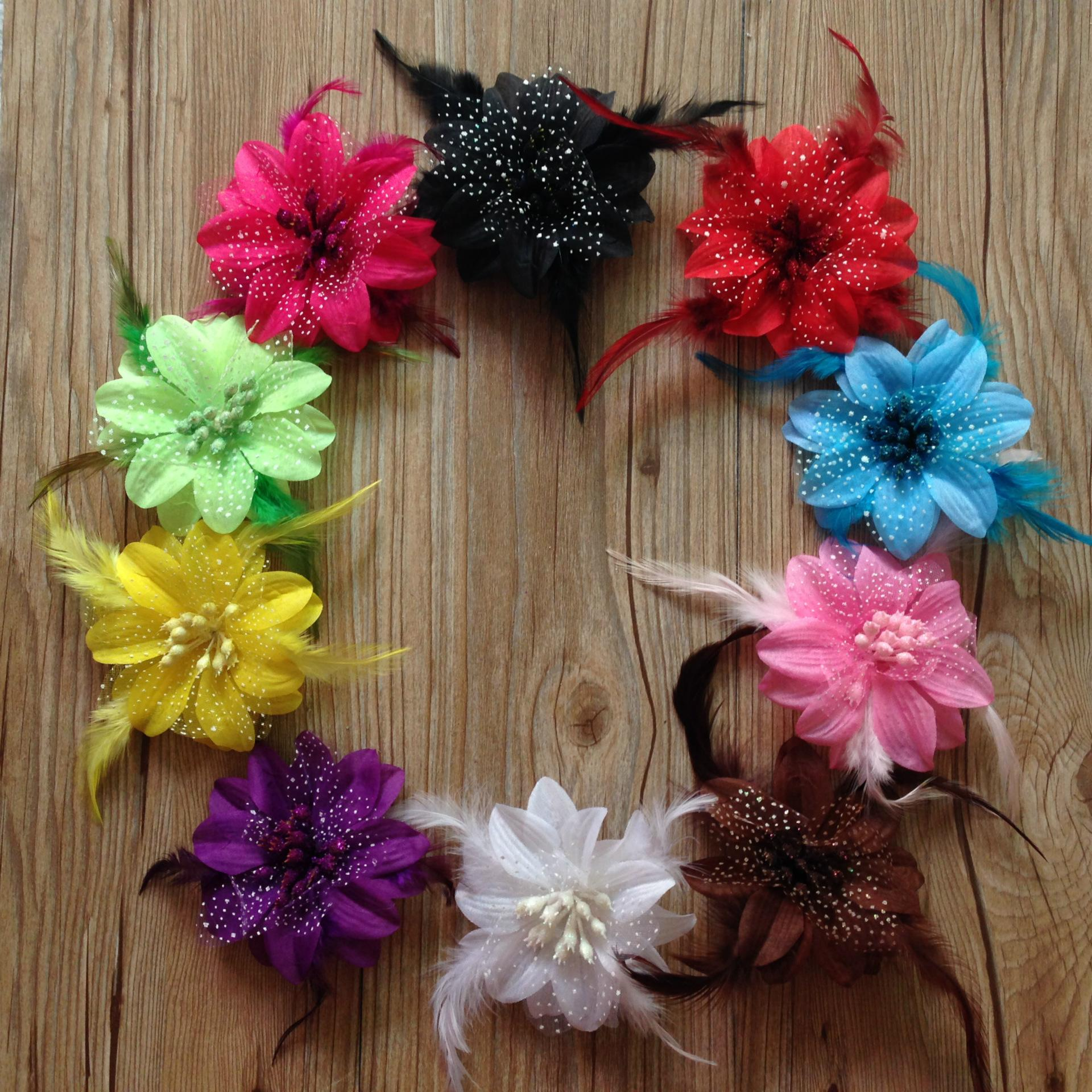 Diy Hair Accessories Baby Girls Feather Flower Hair Clips