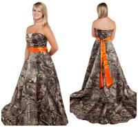Realtree Bridal Gowns with Orange Sash Strapless Sweep ...