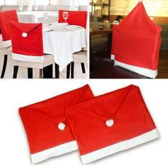 Santa Chair Covers Sets Ikea Bed Clause Red Hat Back Cover Seat Christmas Dinner Xmas Cap