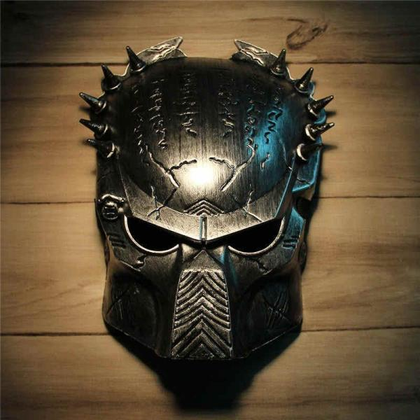 Cool Predator Masquerade Masks Halloween Props Silver Full Face Mardi Gras Film Cosplay Mens