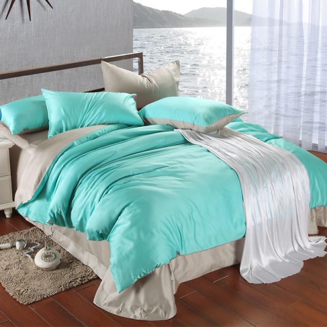 acheter ensemble de literie de luxe king size bleu vert turquoise housse de couette draps gris lit double lit dans un sac lin draps doona draps draps de