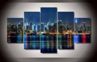 Best Quality 5 Panel Framed Printed New York City Painting ...