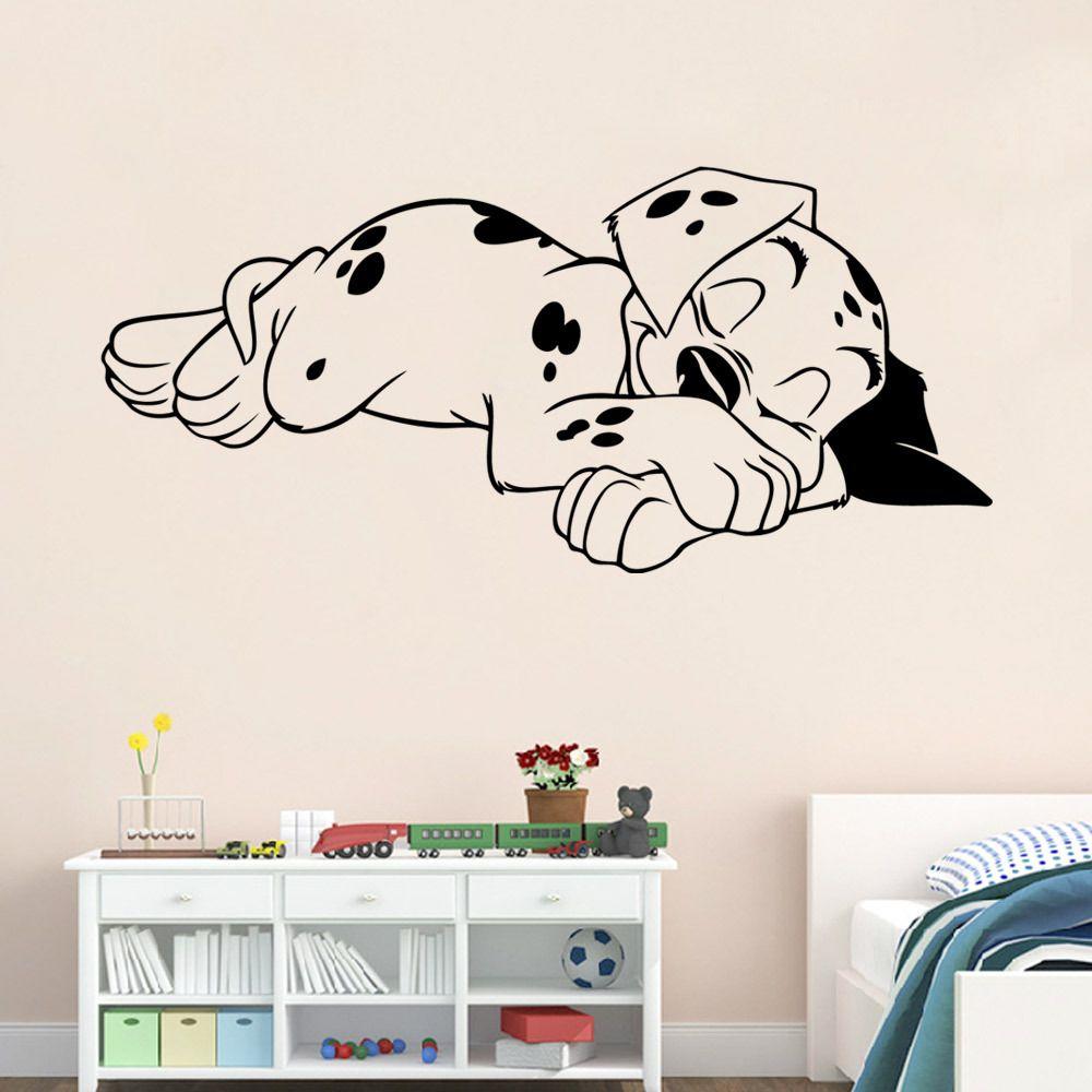 cute sleeping dog wall stickers bedroom living room decorative
