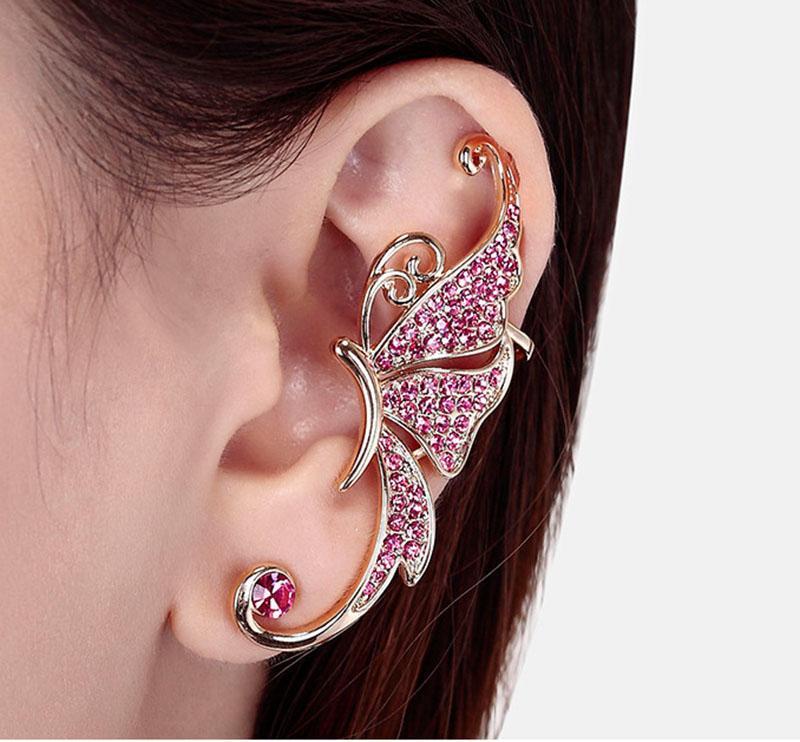Full Of Diamond Earrings Butterfly Earrings Elf Ear Cuff