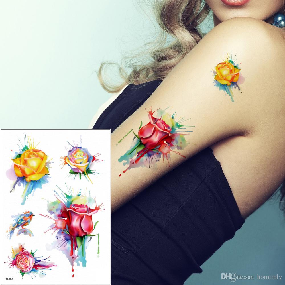 Acuarela Flor Pájaros Tatuajes Deisngs Para Hombre Mujer Pie Brazo Espalda Pierna Arte Corporal Pintura Tatuaje Temporal Etiqueta Impermeable