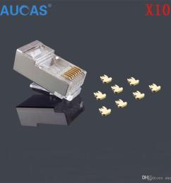 aucas 10pcs lot rj45 network cable modular plug cat5e cat5 8p8c connector end metal shield crystal head [ 1000 x 1000 Pixel ]