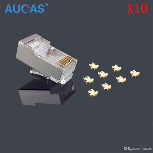 small resolution of aucas 10pcs lot rj45 network cable modular plug cat5e cat5 8p8c connector end metal shield crystal head