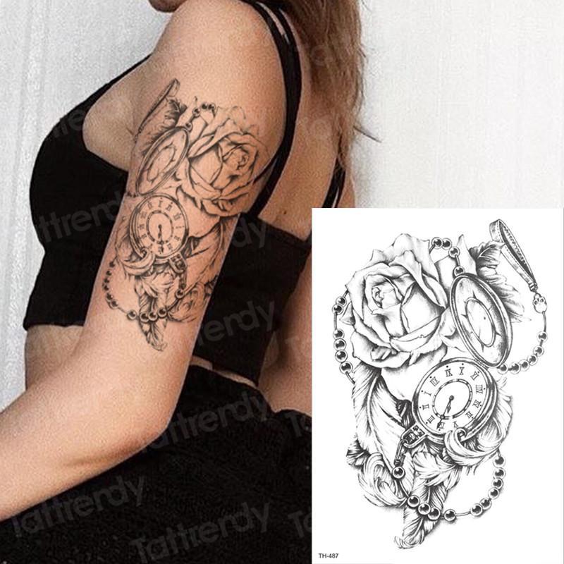 Tatuaje Temporal Rosa Mujer Niña Etiqueta Engomada Del Tatuaje Reloj