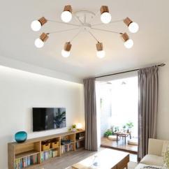 Living Room Ceiling Lights Modern Curtains For Small 3 5 8 Wood Led Bedroom Lamp Lustres De Sala Plafond Luminaire E27 Pendants Lighting Instant Pendant