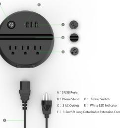 us outlet ntonpower ody portable usb travel extension cord us electrical plug socket 3 ac outlets 3 usb charging port with phone holder travel extension  [ 960 x 960 Pixel ]