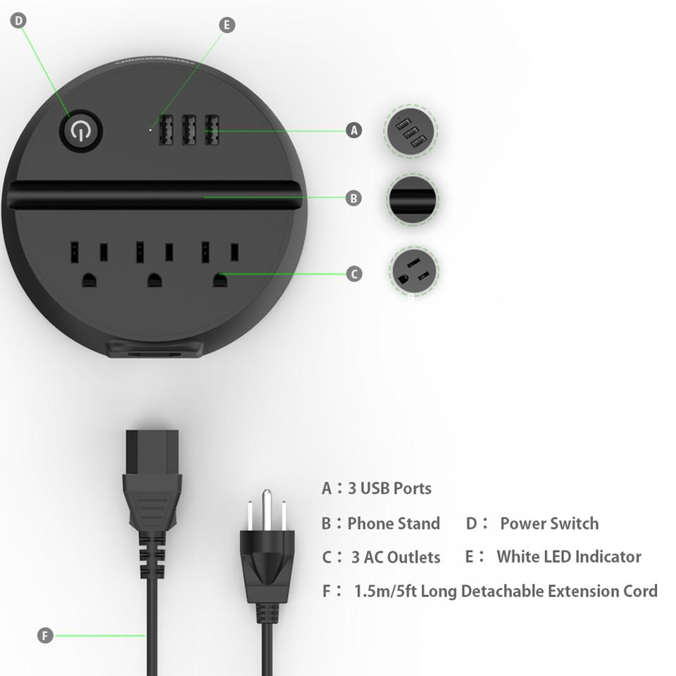 hight resolution of us outlet ntonpower ody portable usb travel extension cord us electrical plug socket 3 ac outlets 3 usb charging port with phone holder travel extension