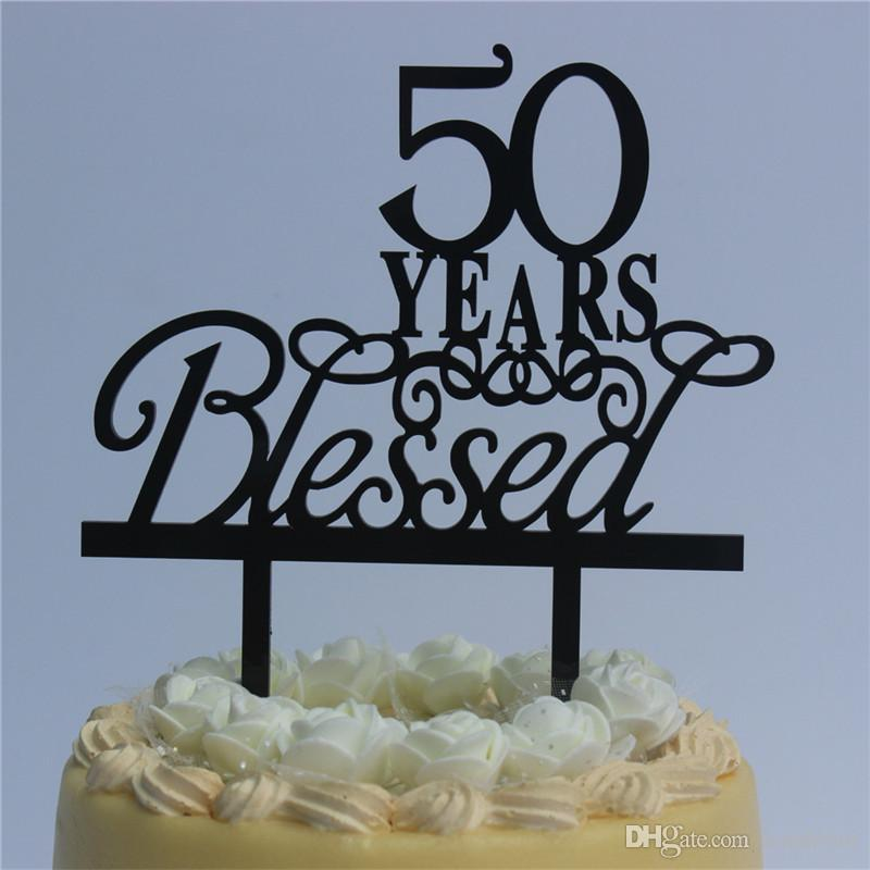 2019 Romantic Wedding Anniversary Cake Toppers 50 Years Blessed For