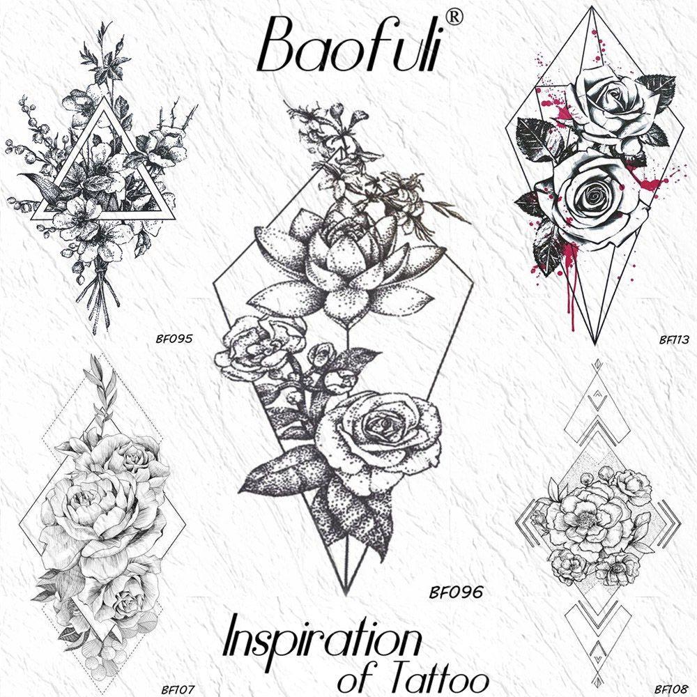 Rombo Flor De Loto Hojas Temporal Tatuaje Geométrico Rosa Rama