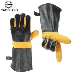 Kitchen Mittens Swing Door Gloves Heat Proof Genuine Leather Bbq Cooking Baking Barbecue Glove With Cowhide Anti Slip Scald Welding Cheap