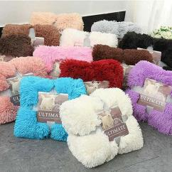 Fuzzy Sofa Leather Outlet Uk Throw Fleece Blanket Shaggy Long Faux Fur For Bed Couch Chair Soft Warm Fluffy Sherpa Red Bright Blue