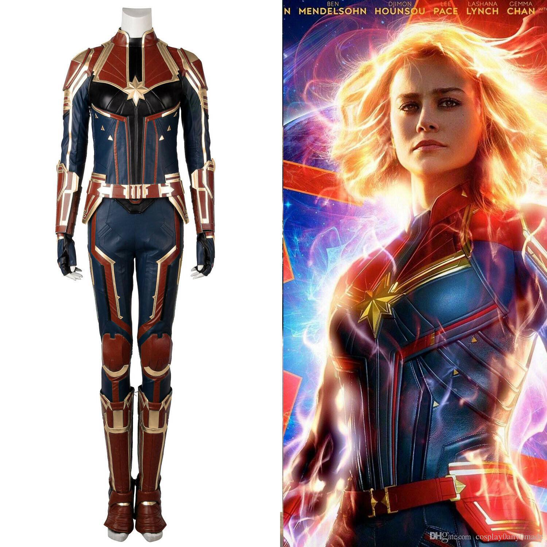 new captain marvel carol danvers cosplay costume deluxe leather