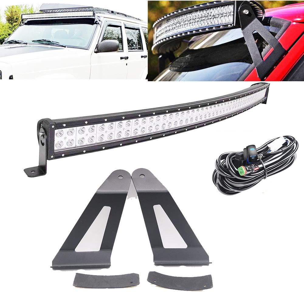 hight resolution of 50inch 288w curved led light bar w dt connector wiring harness kit mounting brackets for 1984 2001 jeep xj cherokee led bulb design led bulb display from