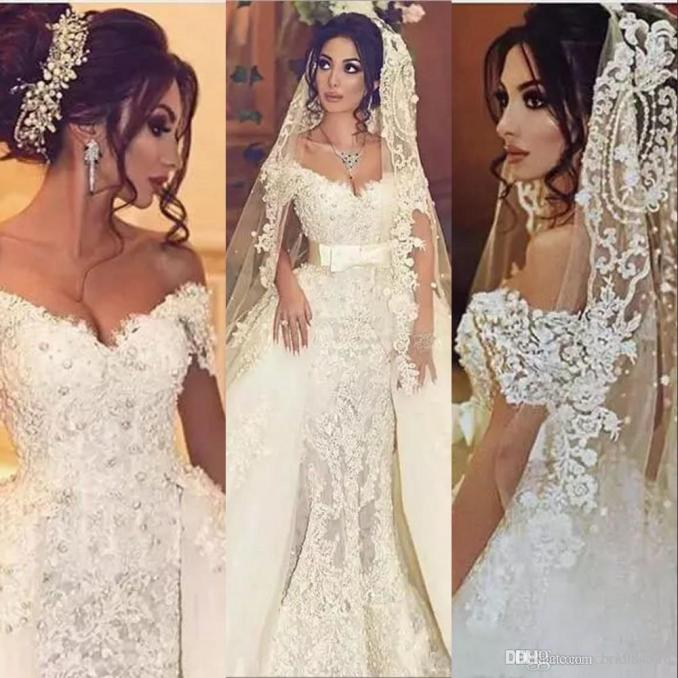 gorgeous arabic overskirts wedding dresses mermaid with detachable train off shoulder pearls applique lace country bridal gowns with sash