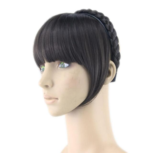 8 colors synthetic hair fringe black blonde hair bangs with braided hair clip hairpieces accessories