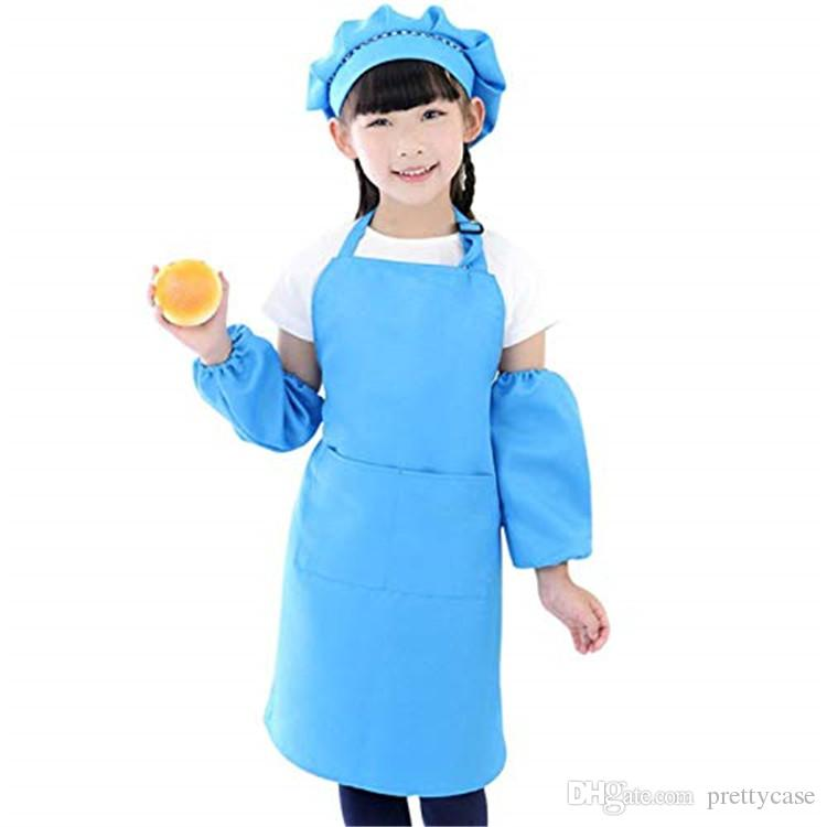 kitchen apron for kids pendants hat nursing sleeves set girls boys cooking baking tools painting aprons wholesale from prettycase