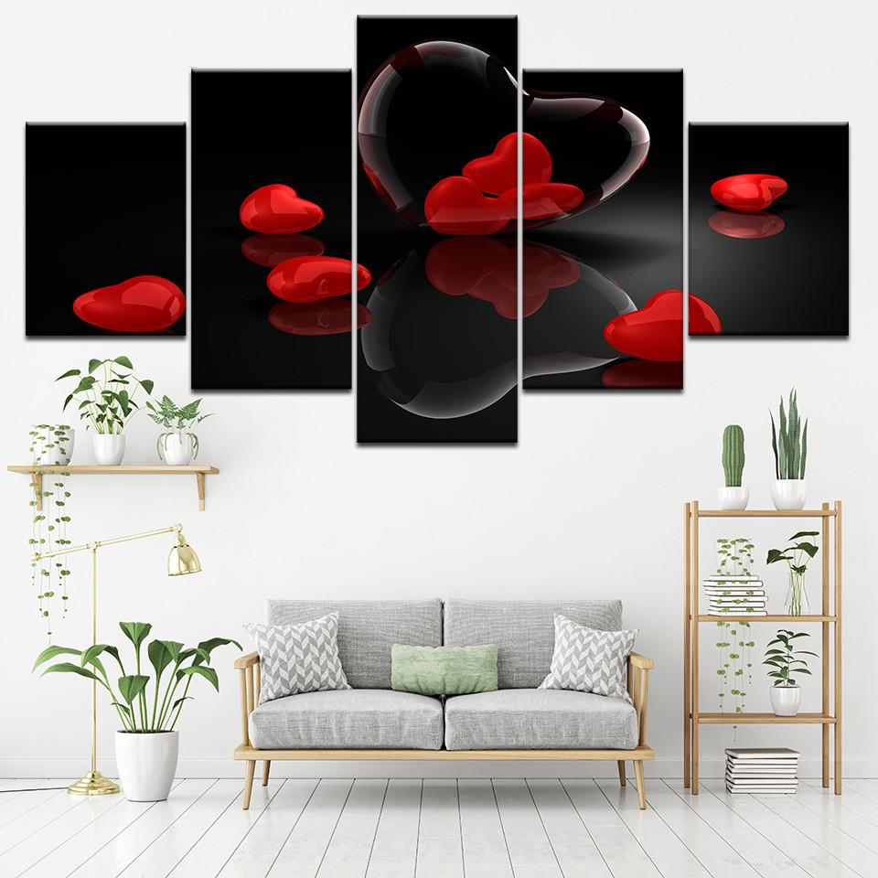 frames for living room walls couches furniture 2019 canvas paintings modular wall art red heart shaped jpg