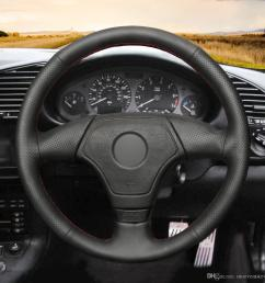 mewant hand stitched black artificial leather steering wheel cover wrap for bmw e36 e46 e39 without multi function button thin steering wheel cover thin  [ 1200 x 1200 Pixel ]