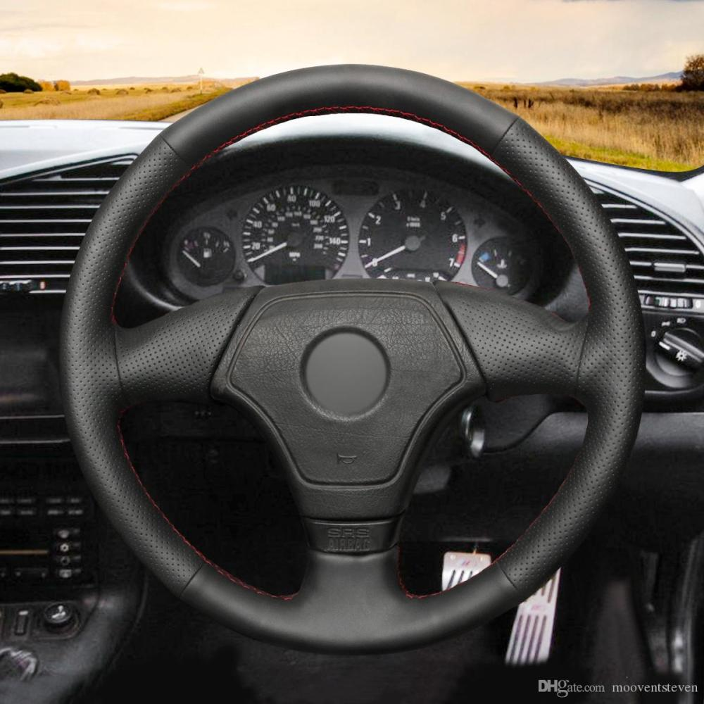 medium resolution of mewant hand stitched black artificial leather steering wheel cover wrap for bmw e36 e46 e39 without multi function button thin steering wheel cover thin