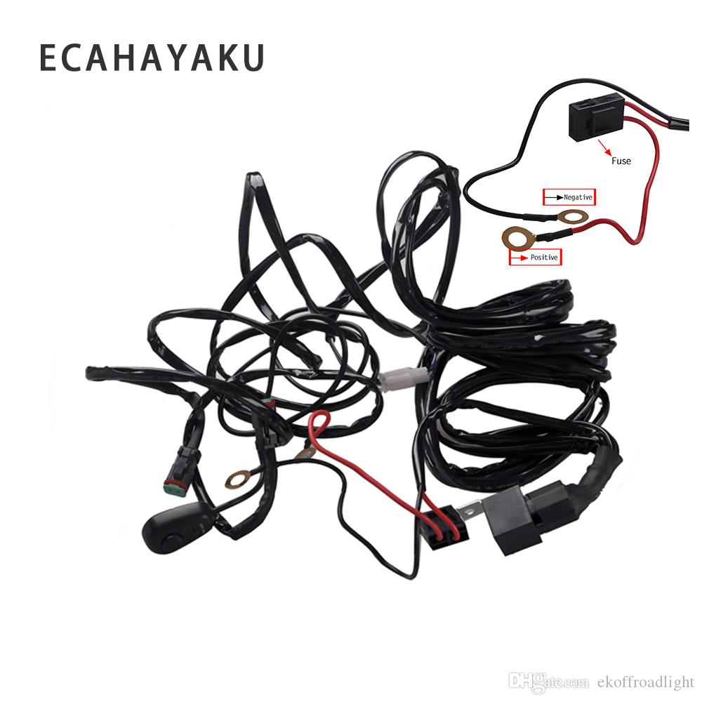 hight resolution of 2019 ecahayaku 2x 3 meters led light bar wire wiring harness relay loom cable kit fuse for auto driving offroad work lamp 12v 24v from ekoffroadlight