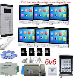 access control keyboard system 6 apartments video door phone intercom system with lock 9 color 8gb sd card recording rfid kit [ 900 x 900 Pixel ]