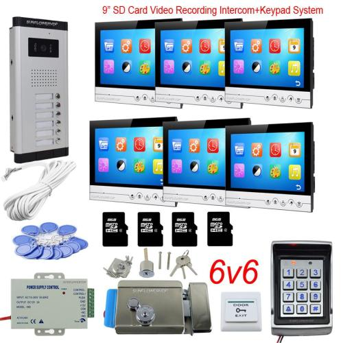 small resolution of access control keyboard system 6 apartments video door phone intercom system with lock 9 color 8gb sd card recording rfid kit