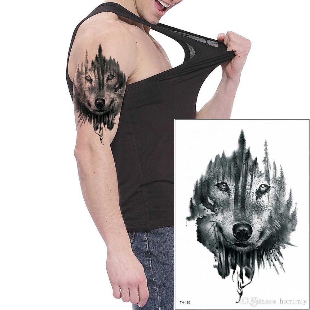 Animal Lobo Diseño Etiqueta Engomada Del Tatuaje Temporal Del Arte