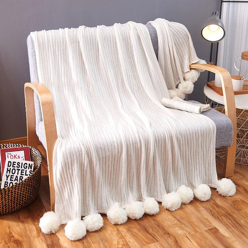 100 cotton sofas savoy sofa ethan allen white knitted blanket for bed airplane handmade balls throw stripe knit blankets soft winter warm bedspread large sale velour