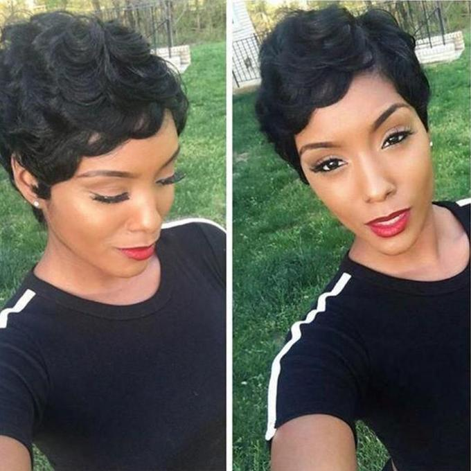short finger wave retro style wig short pixie cut wig 1920 s flapper hairstyles for american african women cosplay black free shipping