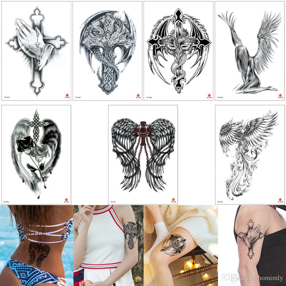 Falso Negro Cruz Del Tatuaje Ala Rosa Flor De Phoenix Diseños De