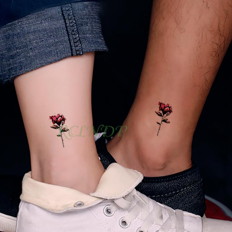 Impermeables Pegatinas De Tatuaje Temporal Hermosa Flor Rosa Falso Tatto Flash Tatoo Tatouage Mano Atrás Brazo De Pie Para Chica Mujer Hombre