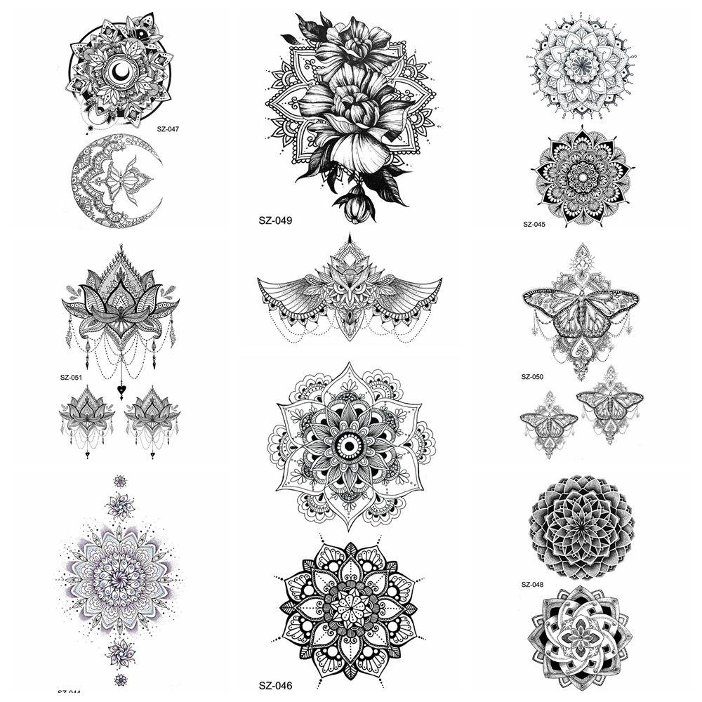 25 Estilo Negro Henna Flora Pegatinas Temporales Del Tatuaje De Las