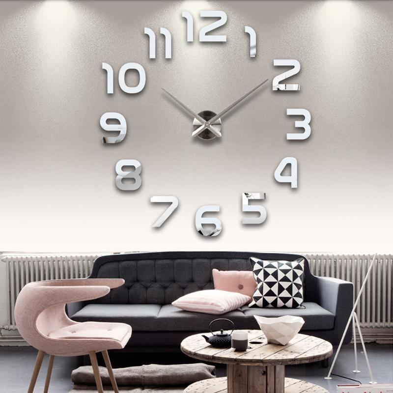 big wall clocks for living room what colour should you paint your sale new real 3d mirror sticke clock home decoration acrylic diy watch stickers 50 inch 6 from jawman