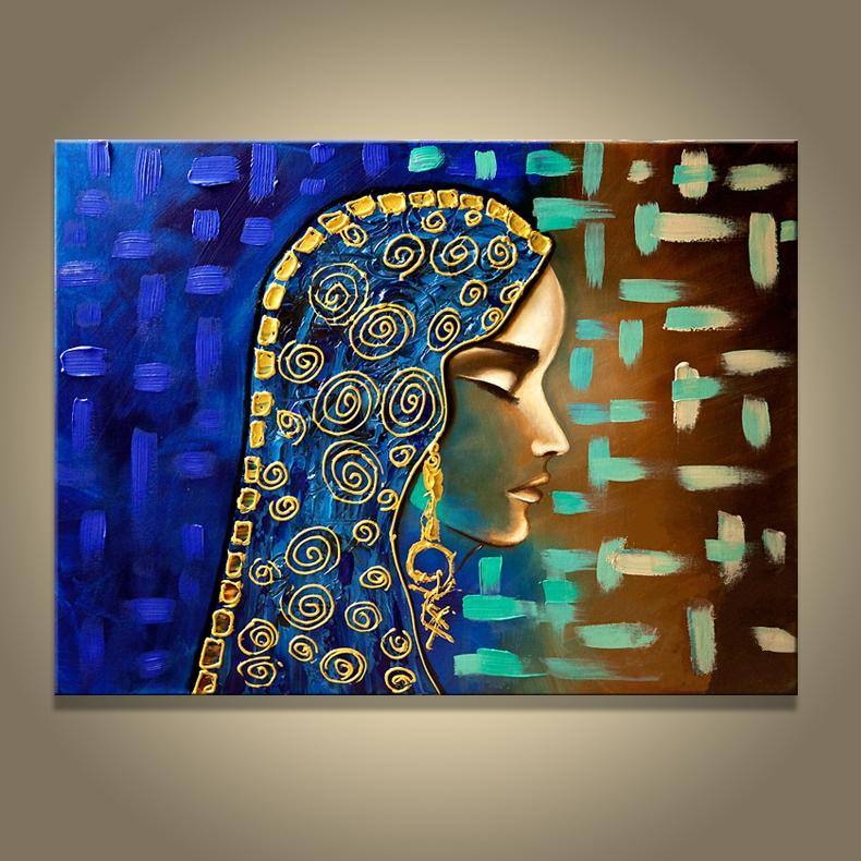 2019 Hand Made Painting Egyptian Girl Wall Canvas Picture