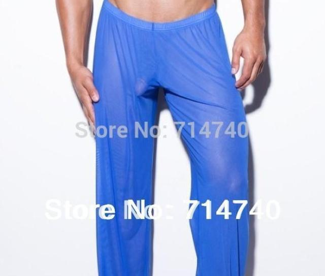 Sexy Gay Male Trousers Sleepwear Transparent Bottoms Compression Casual Yoga Mesh Lounge Gauze Sheer See Through Gym Long Pants Gauze Beachwear Pants Girls