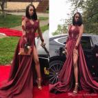 Black Girls Long Red Prom Dresses 2018