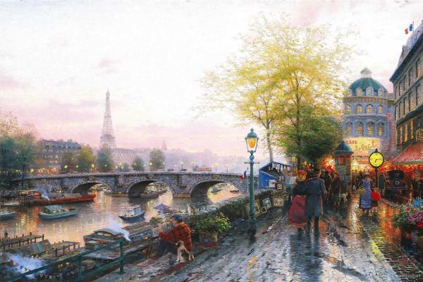2017 Paris Eiffel Tower Thomas Kinkade Oil Paintings Art