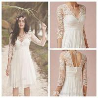 Discount 2015 White Lace Wedding Dresses 3/4 Long Sleeves ...
