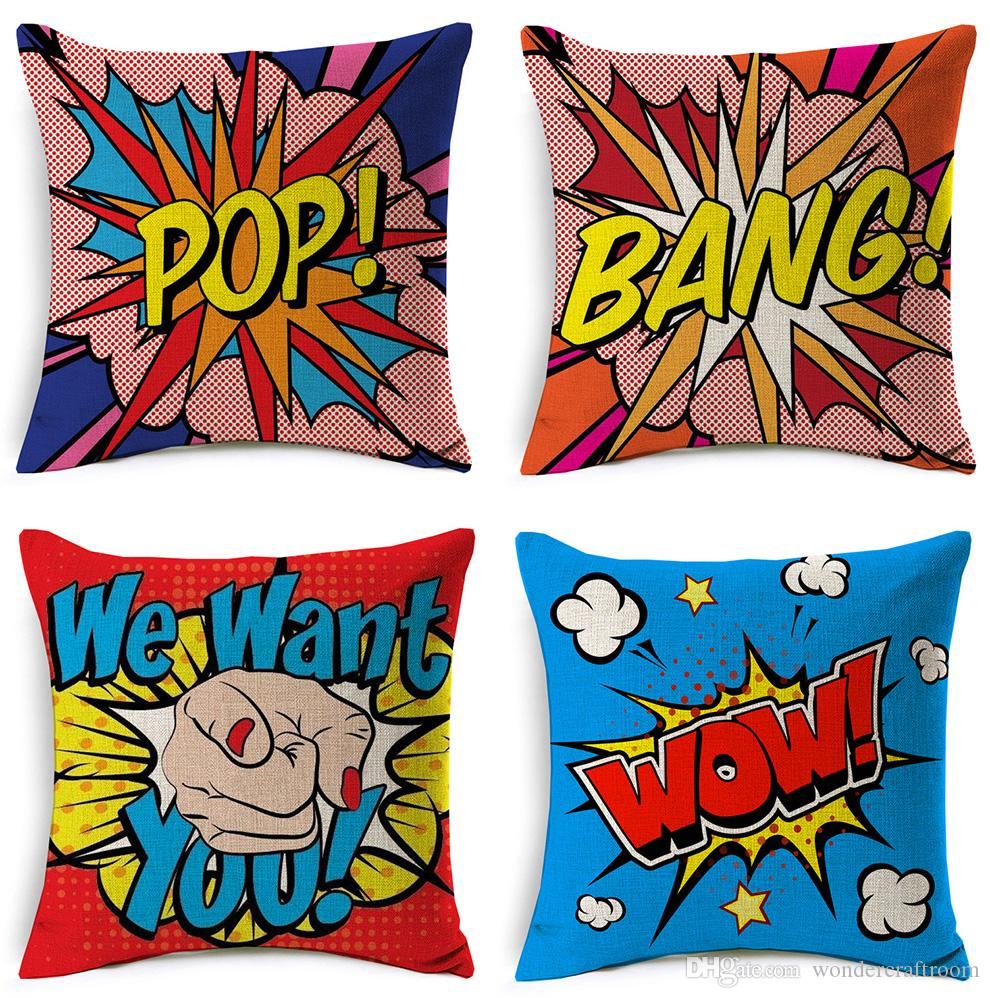 modern art chair covers and linens folding adirondack chairs ace hardware american pop cushion cover pow bang wow love pineapple decorative linen cotton pillow case for sofa couch seat exterior cushions