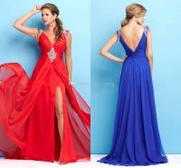 Newest Prom Dresses 2015 Deep V Neck Ruched Beaded Sequins ...