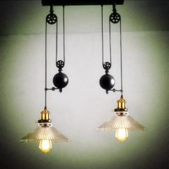 Kitchen Lamp Cabinet Manufacturers List 2 Wheels Light Vintage Glass Pendant Pulley Lamps Retro Industrial Dining Room E27 Led Lamparas Track Lights