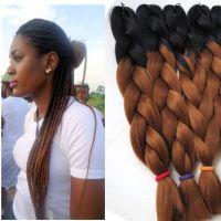 Kanekalon Ombre Synthetic Braiding Hair 24inch 100g Black ...