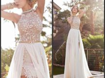 2016 Vintage Beach Prom Dresses High Neck Beaded Crystals ...