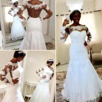 2016 New Mermaid Sheer Back Plus Size African Wedding